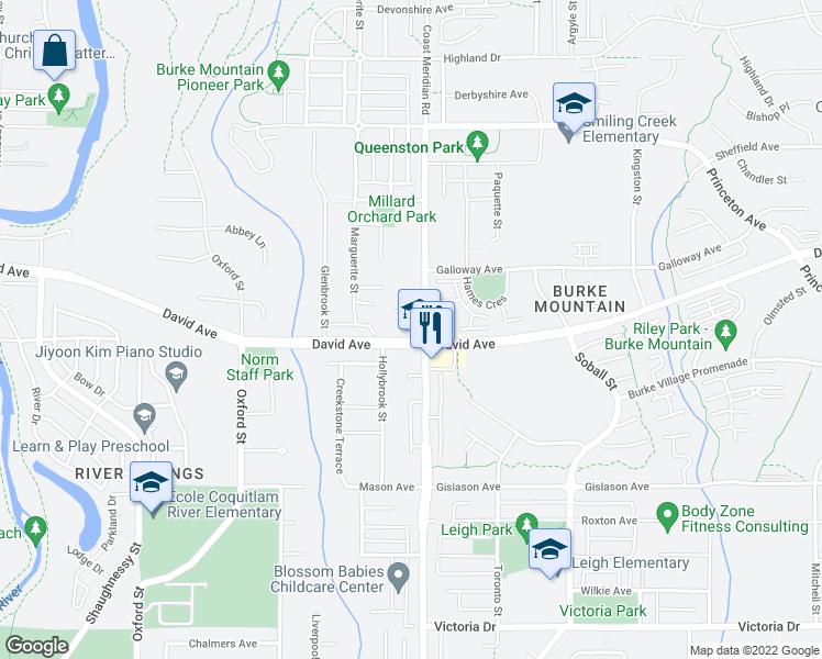 map of restaurants, bars, coffee shops, grocery stores, and more near 3380 Francis Crescent in Coquitlam