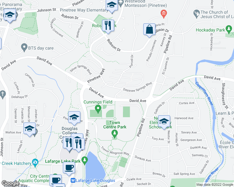 map of restaurants, bars, coffee shops, grocery stores, and more near Genest Way in Coquitlam
