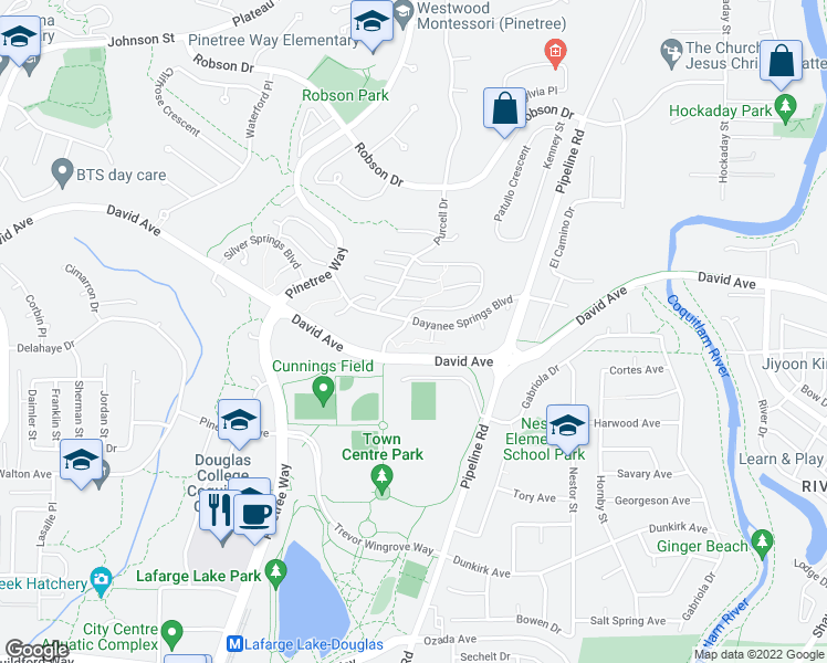 map of restaurants, bars, coffee shops, grocery stores, and more near 3106 Dayanee Springs Boulevard in Coquitlam