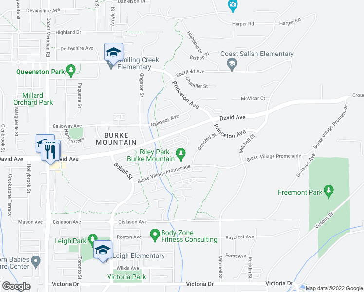 map of restaurants, bars, coffee shops, grocery stores, and more near 1320 Riley Street in Coquitlam