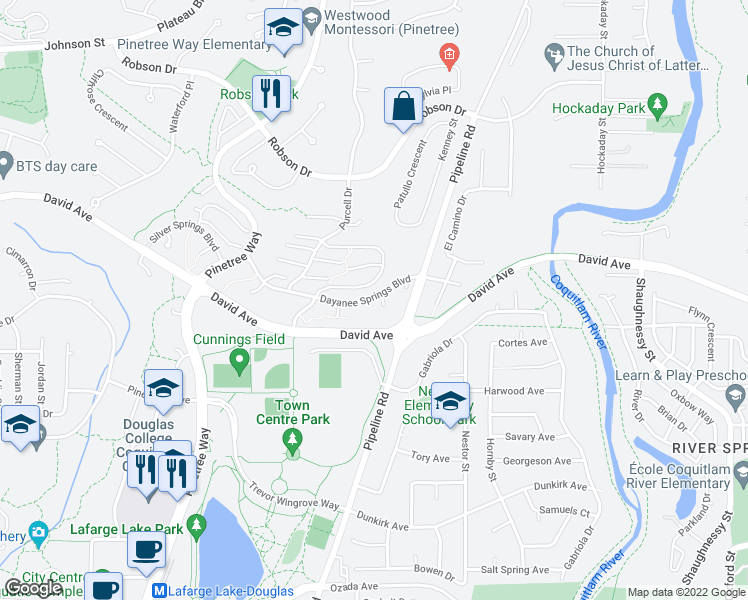 map of restaurants, bars, coffee shops, grocery stores, and more near 3156 Dayanee Springs Boulevard in Coquitlam