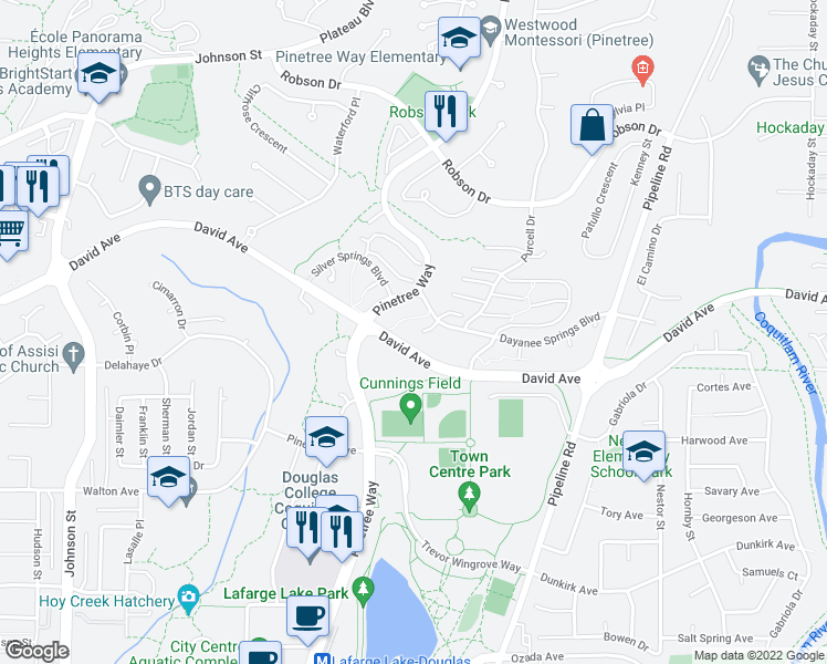 map of restaurants, bars, coffee shops, grocery stores, and more near 3050 Dayanee Springs Boulevard in Coquitlam