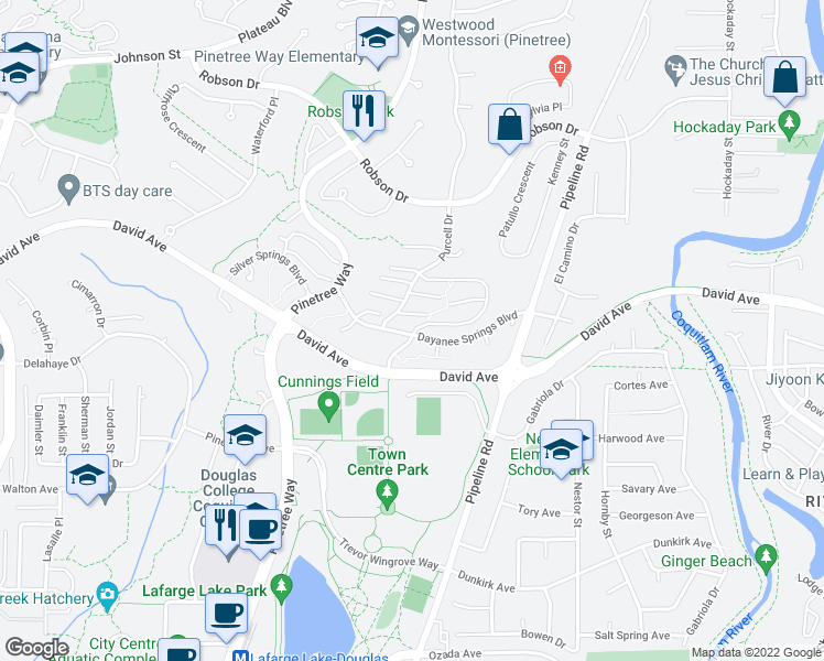 map of restaurants, bars, coffee shops, grocery stores, and more near 3105 Dayanee Springs Boulevard in Coquitlam