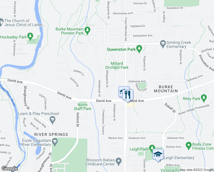 map of restaurants, bars, coffee shops, grocery stores, and more near 3353 Passaglia Place in Coquitlam