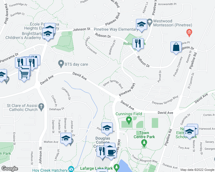 map of restaurants, bars, coffee shops, grocery stores, and more near 2958 Silver Springs Boulevard in Coquitlam