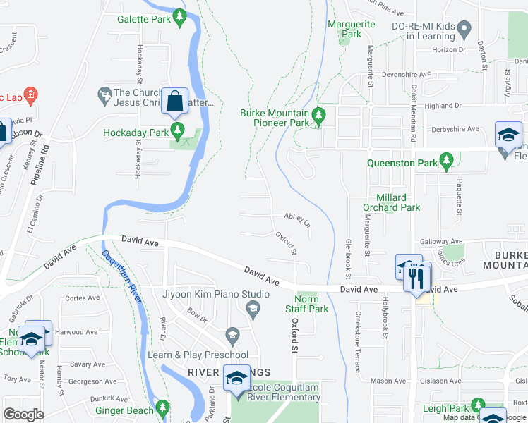 map of restaurants, bars, coffee shops, grocery stores, and more near 3319 Grosvenor Place in Coquitlam