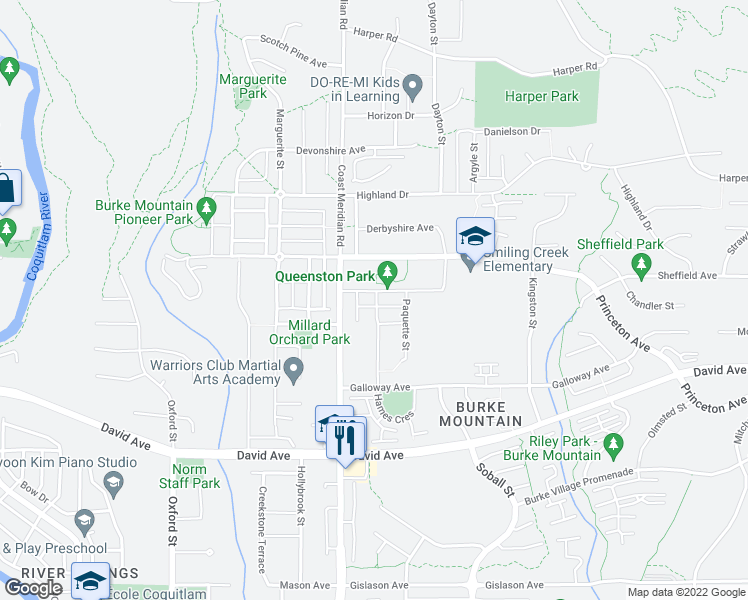 map of restaurants, bars, coffee shops, grocery stores, and more near 1388 Hames Crescent in Coquitlam