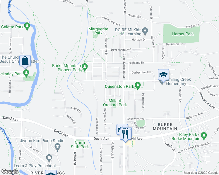 map of restaurants, bars, coffee shops, grocery stores, and more near 1 Trafalgar Street in Coquitlam