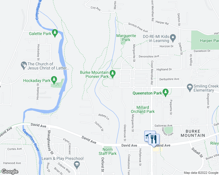 map of restaurants, bars, coffee shops, grocery stores, and more near 3306 Princeton Avenue in Coquitlam