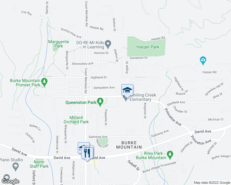 map of restaurants, bars, coffee shops, grocery stores, and more near 1408 Dayton Street in Coquitlam