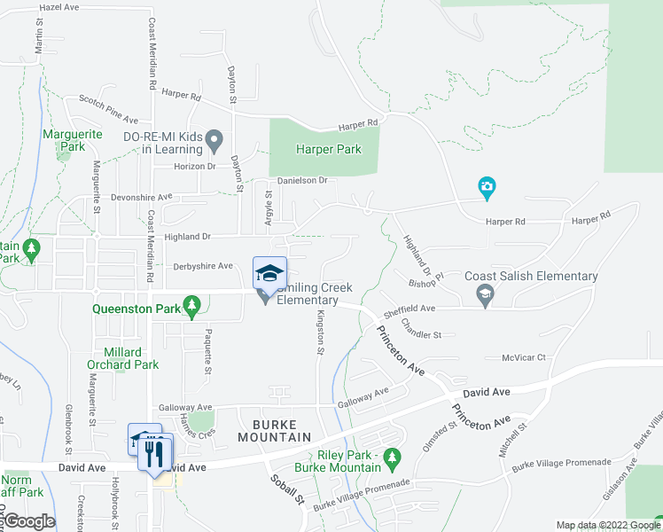 map of restaurants, bars, coffee shops, grocery stores, and more near 1407 Kingston Street in Coquitlam