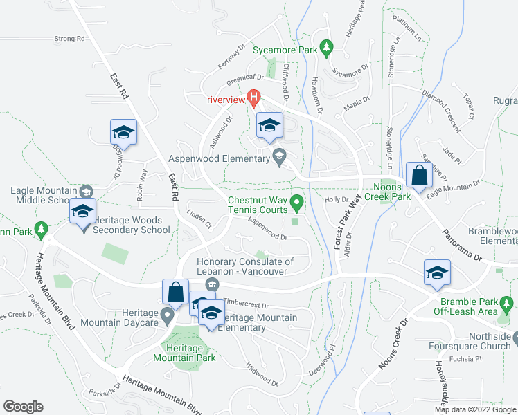 map of restaurants, bars, coffee shops, grocery stores, and more near 258 Chestnut Place in Port Moody