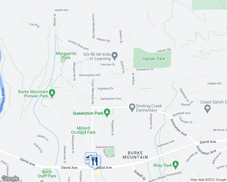 map of restaurants, bars, coffee shops, grocery stores, and more near 3414 Highland Drive in Coquitlam