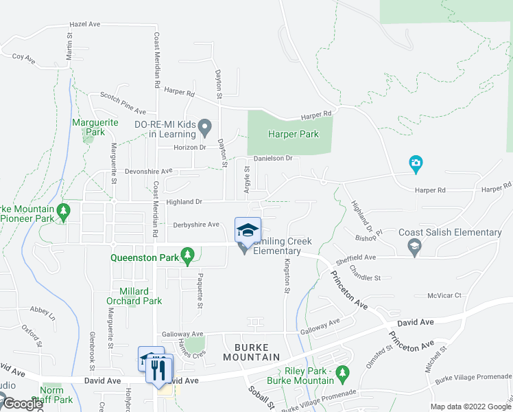map of restaurants, bars, coffee shops, grocery stores, and more near 3470 Highland Drive in Coquitlam