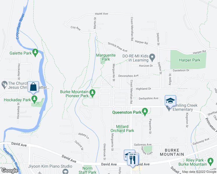 map of restaurants, bars, coffee shops, grocery stores, and more near 3363 Highland Drive in Coquitlam