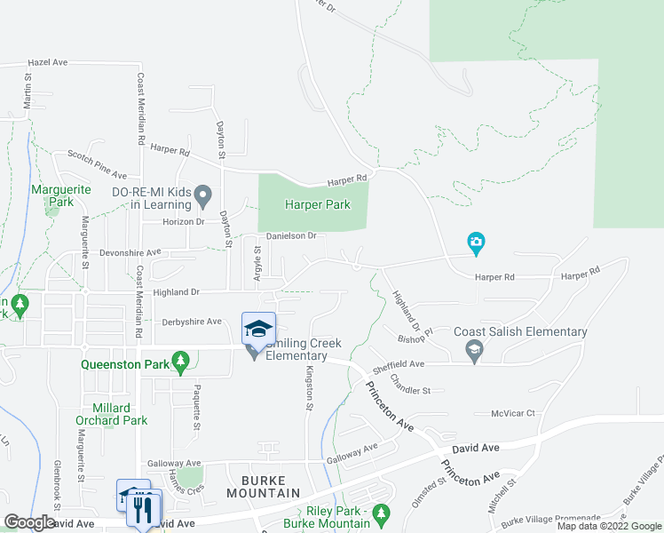 map of restaurants, bars, coffee shops, grocery stores, and more near 3510 Highland Drive in Coquitlam