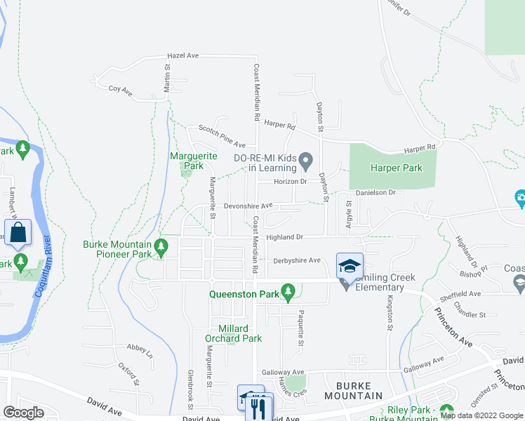 map of restaurants, bars, coffee shops, grocery stores, and more near 3400 Devonshire Avenue in Coquitlam
