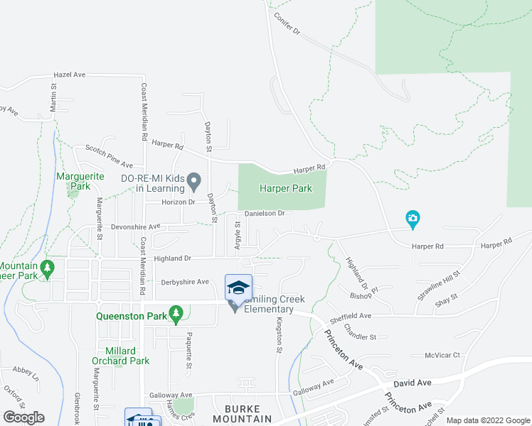 map of restaurants, bars, coffee shops, grocery stores, and more near Danielson Drive in Coquitlam