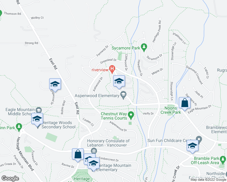 map of restaurants, bars, coffee shops, grocery stores, and more near 50 Panorama Place in Port Moody