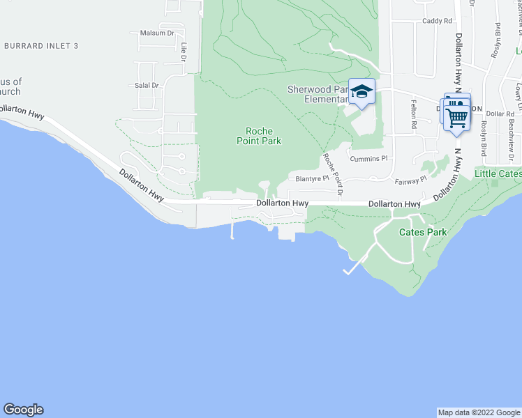 map of restaurants, bars, coffee shops, grocery stores, and more near 3825 Cates Landing Way in North Vancouver