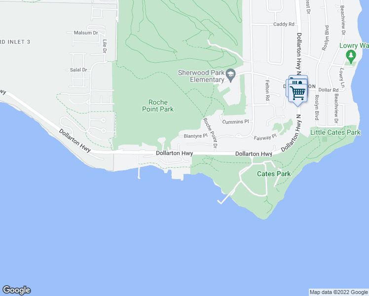 map of restaurants, bars, coffee shops, grocery stores, and more near 3920 Dollarton Highway in North Vancouver