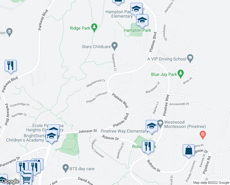 map of restaurants, bars, coffee shops, grocery stores, and more near 3059 Plateau Boulevard in Coquitlam