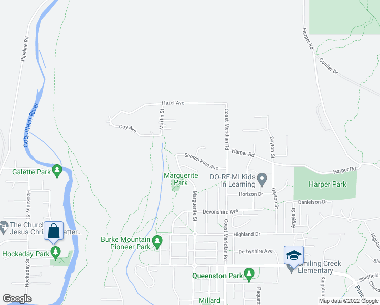 map of restaurants, bars, coffee shops, grocery stores, and more near 3361 Scotch Pine Avenue in Coquitlam