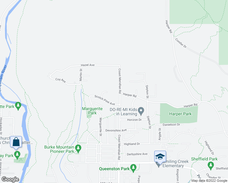 map of restaurants, bars, coffee shops, grocery stores, and more near 1486 Coast Meridian Road in Coquitlam