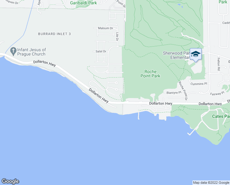 map of restaurants, bars, coffee shops, grocery stores, and more near 3629 Deercrest Drive in North Vancouver