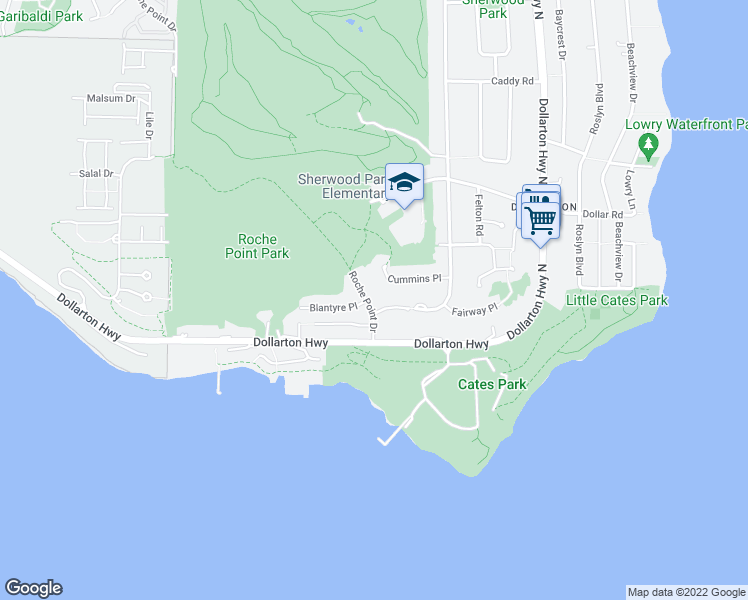 map of restaurants, bars, coffee shops, grocery stores, and more near 300 Roche Point Drive in North Vancouver