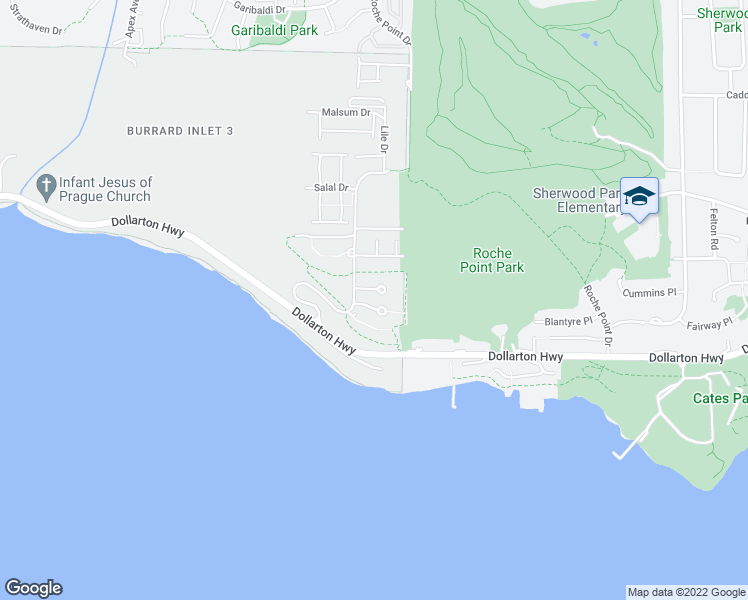 map of restaurants, bars, coffee shops, grocery stores, and more near 3608 Deercrest Drive in North Vancouver
