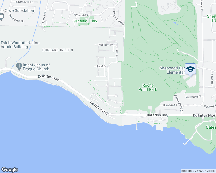 map of restaurants, bars, coffee shops, grocery stores, and more near 560 Raven Woods Drive in North Vancouver