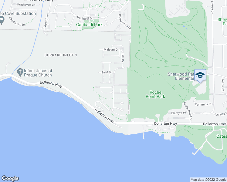 map of restaurants, bars, coffee shops, grocery stores, and more near Raven Woods Drive in Greater Vancouver