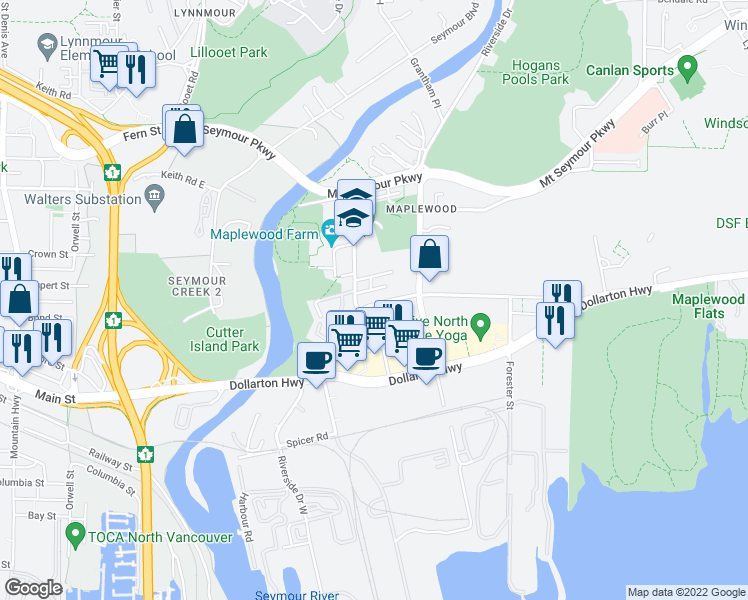 map of restaurants, bars, coffee shops, grocery stores, and more near 2138 Old Dollarton Road in North Vancouver