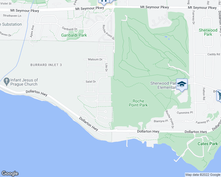 map of restaurants, bars, coffee shops, grocery stores, and more near 3606 Aldercrest Drive in North Vancouver