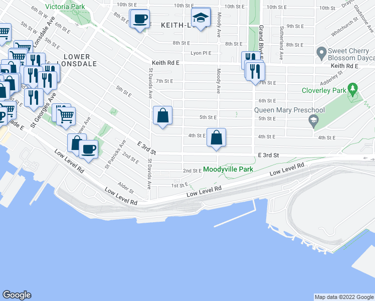 map of restaurants, bars, coffee shops, grocery stores, and more near 610 East 3rd Street in North Vancouver
