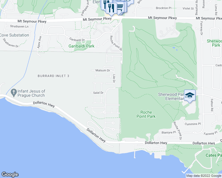 map of restaurants, bars, coffee shops, grocery stores, and more near Raven Woods Drive in North Vancouver