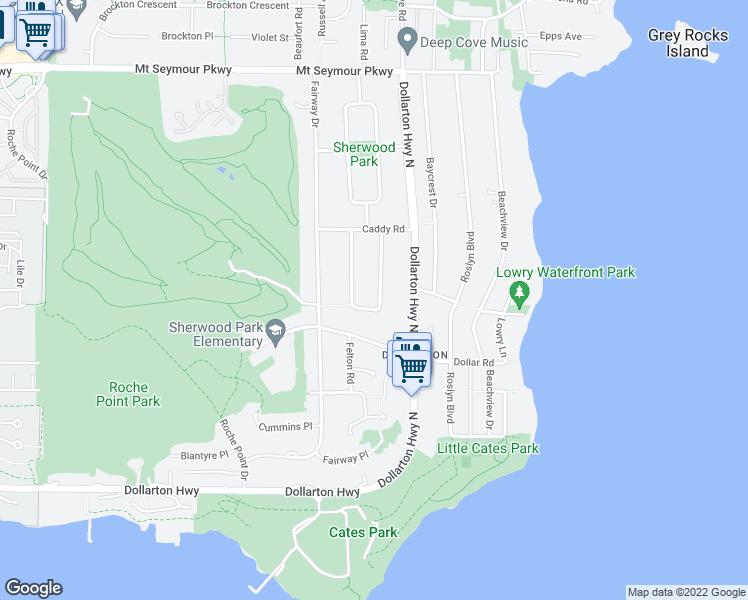 map of restaurants, bars, coffee shops, grocery stores, and more near 4210 Glenhaven Crescent in North Vancouver