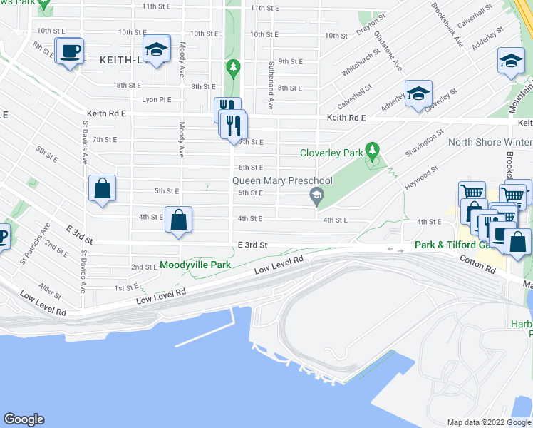 map of restaurants, bars, coffee shops, grocery stores, and more near 748 4th Street East in North Vancouver