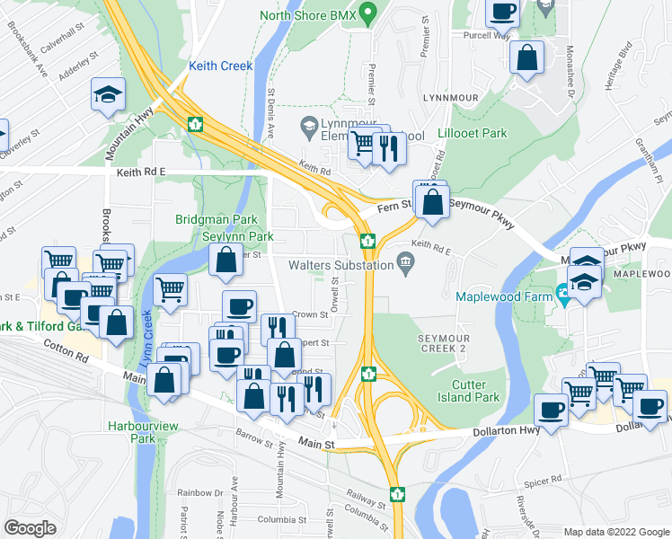 map of restaurants, bars, coffee shops, grocery stores, and more near 475 Orwell Street in North Vancouver