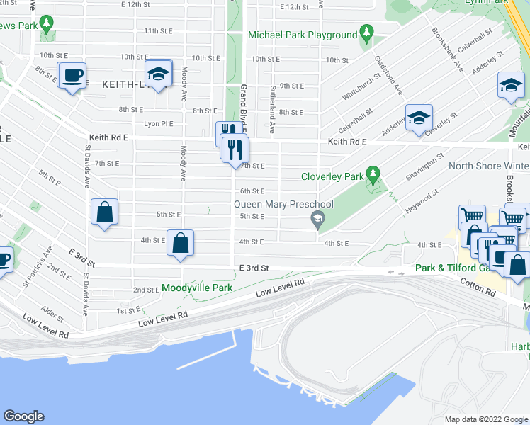 map of restaurants, bars, coffee shops, grocery stores, and more near 742 5th Street East in North Vancouver