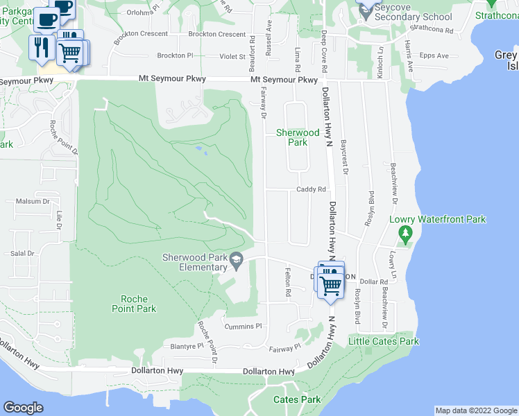 map of restaurants, bars, coffee shops, grocery stores, and more near 655 Fairway Drive in North Vancouver