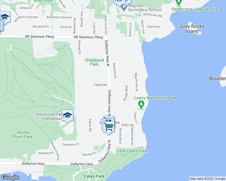 map of restaurants, bars, coffee shops, grocery stores, and more near 667 Baycrest Drive in North Vancouver