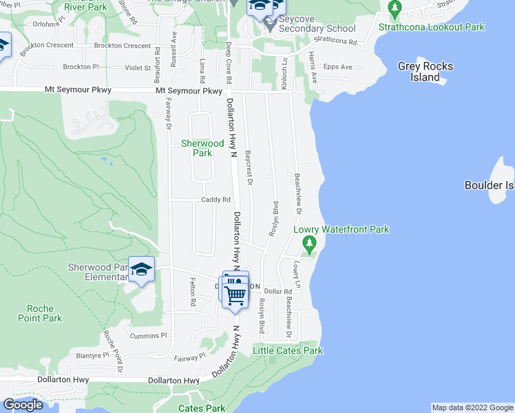 map of restaurants, bars, coffee shops, grocery stores, and more near 680 Baycrest Drive in North Vancouver