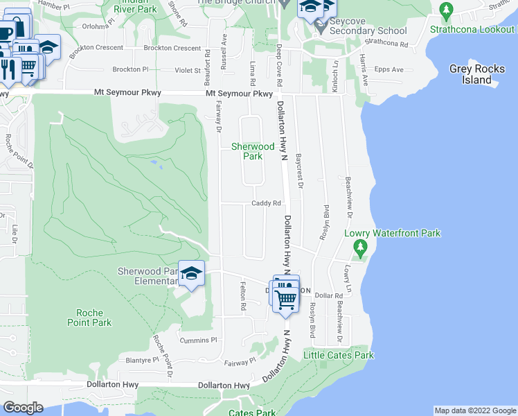 map of restaurants, bars, coffee shops, grocery stores, and more near 4113 Caddy Road in North Vancouver