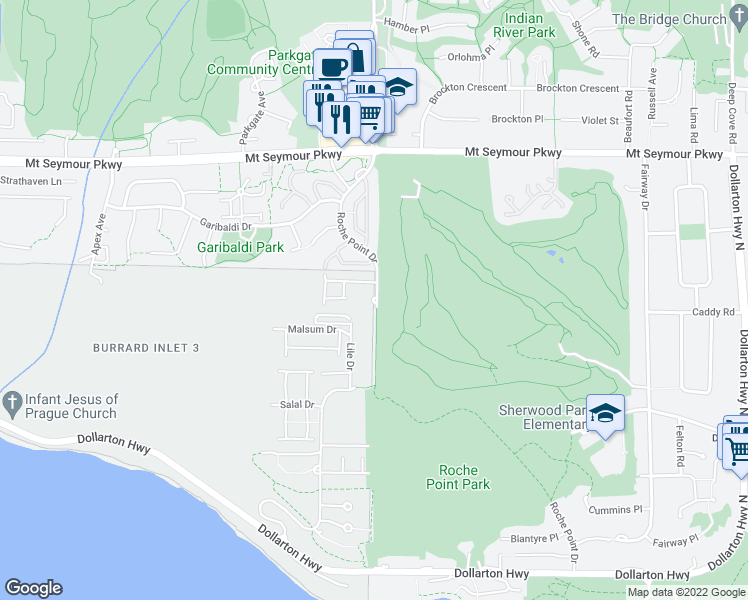 map of restaurants, bars, coffee shops, grocery stores, and more near 630 Roche Point Drive in North Vancouver