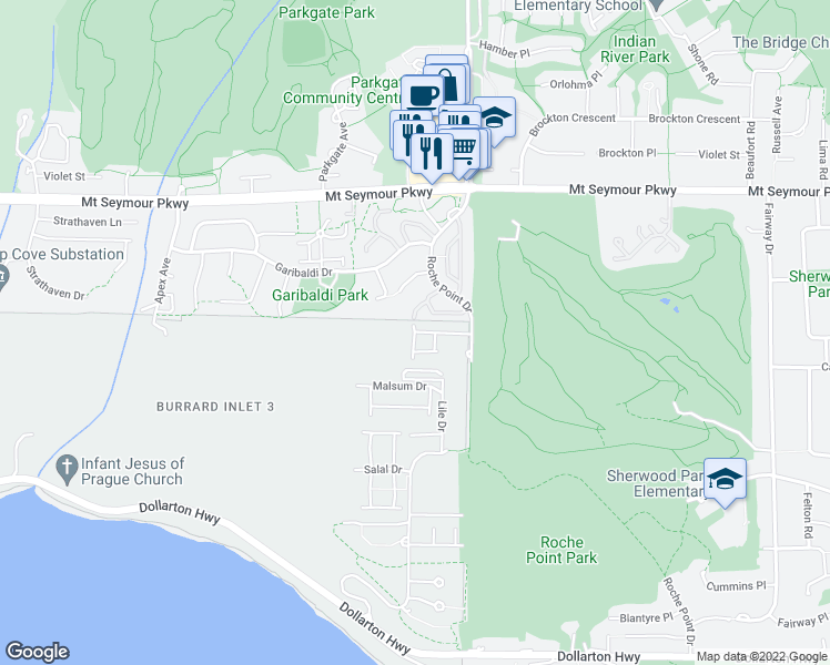 map of restaurants, bars, coffee shops, grocery stores, and more near 650 Roche Point Drive in North Vancouver