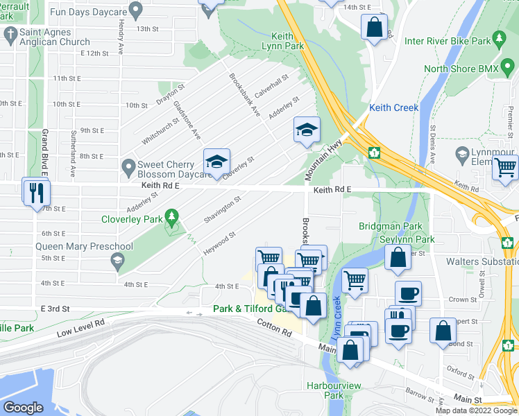map of restaurants, bars, coffee shops, grocery stores, and more near 1212 Heywood Street in North Vancouver
