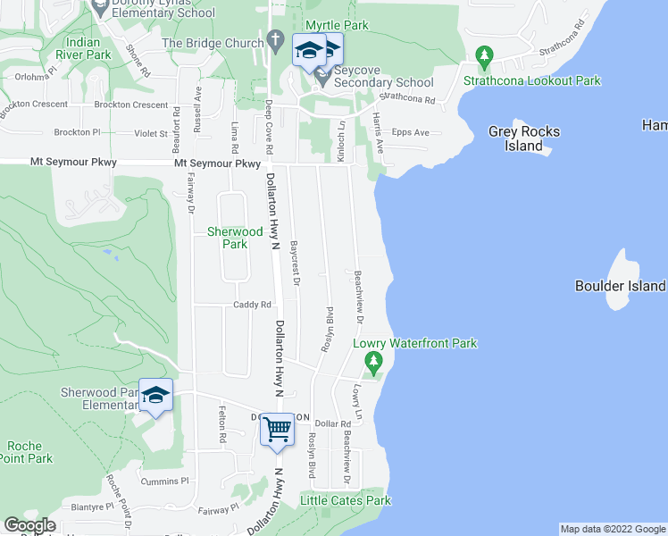 map of restaurants, bars, coffee shops, grocery stores, and more near 768 Roslyn Boulevard in North Vancouver