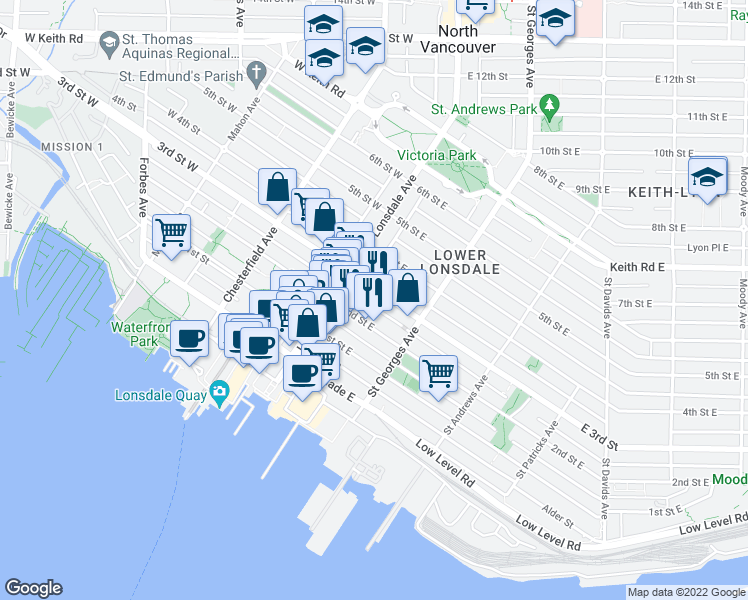 map of restaurants, bars, coffee shops, grocery stores, and more near 131 3rd Street East in North Vancouver